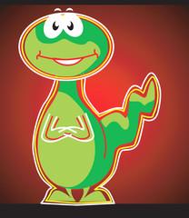 Illustration of a green dinosaur laughing