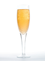 Closeup of the bubbles in a glass of champagne