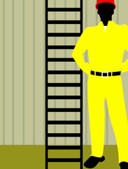 Silhouette of an engineer standing near ladder