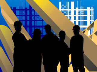 Silhouette of group of men standing in a construction site