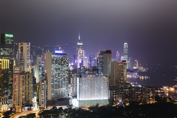 Fototapete - Hong Kong city skyline at night