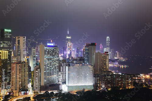 Fotobehang Hong Kong city skyline at night
