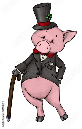 Sylvester Silvester Neujahr Schwein Glück Stock Photo And