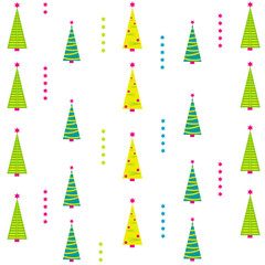 Christmas background with different tree. Vector illustration.