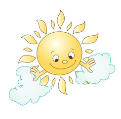 Vector illustration of sun and clouds