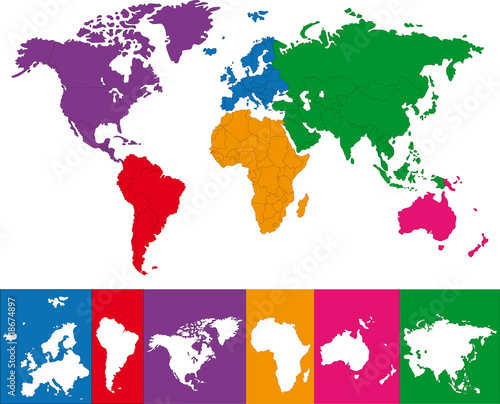Color Map Of The World With Continent Borders Stock Image And - World continent map