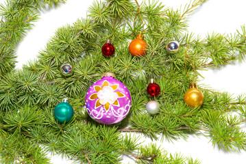Ñhristmas baubles, fir tree and decoration