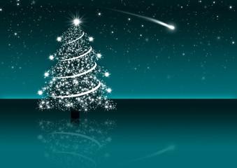 Nachthimmel mit Sternschnuppe und Weihnachtsbaum