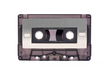 Gray-transparent Compact Cassette isolated on white