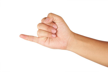 Photo of a hand representing the number 1