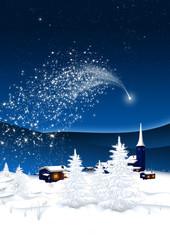 Photo sur Plexiglas Winterlandschaft mit Sternschnuppe - Bergdorf