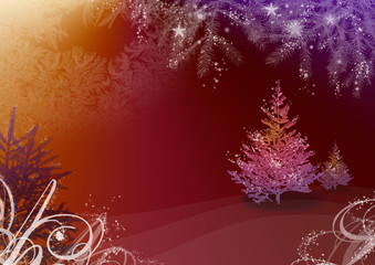 Christmas illustration with fir tree