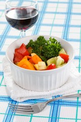fresh salad on the table.
