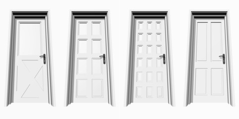 high resolution 3D closed door, isolated on white