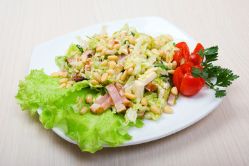 salad with bacon,cheese,nut
