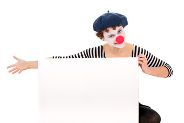 clown woman holding billboard