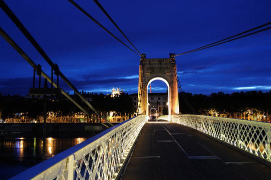 Footbridge by night in Lyon (France)