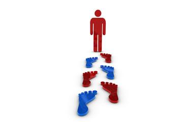 Fußabdruck mit roter Figur