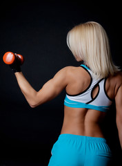 Athlete holding weights