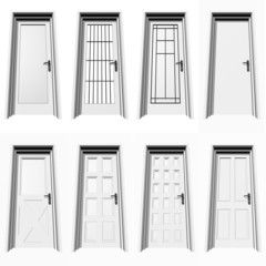 high resolution 3D closed doors set or collection