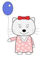 funny pretty cat with balloon