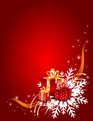 Christmas gifts on a red festive background