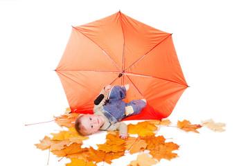 little boy and orange umbrella