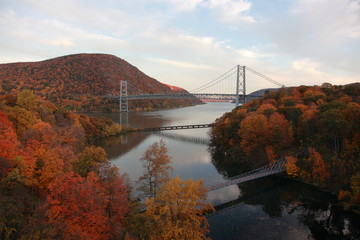 Bear mountain bridge on Hudson river with autumn leaves