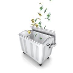 Abfalltonne mit Geld