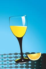 Illustration of glass of juice and sliced orange