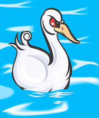 Illustration of a swan swimming in water