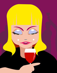 Lady and wine