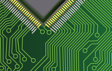 green circuit board with part of CPU