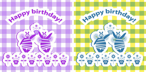 2 Happy Birthday baby card, floral Funny Birthday leaflet with b