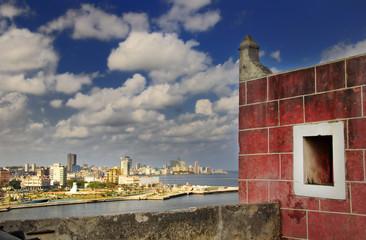 Havana bay skyline from fortress