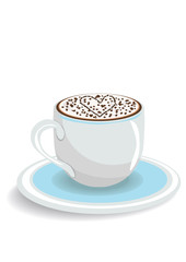 Vector illustration of one cup of cappuccino