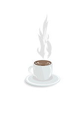 Vector illustration of hot coffee on a white background