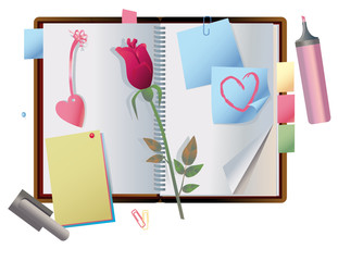 exposed notebook with  little things to Valentines Day
