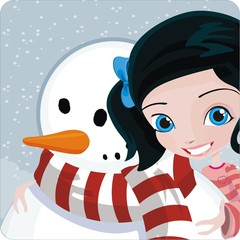 winter background with girl and snowman
