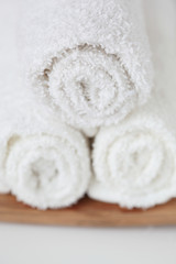 Three rolled towels close up