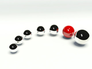 A red sphere among chrome spheres
