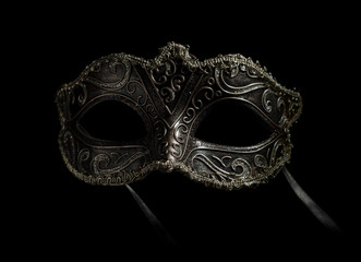 Fototapete - carnival mask isolated on black frontal