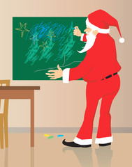 Illustration of Santa clause drawing in a blackboard