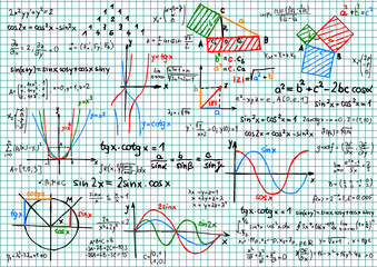 Paper with mathematics sketches - vector illustration