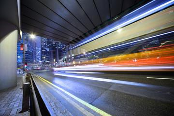 Speeding bus, blurred motion.