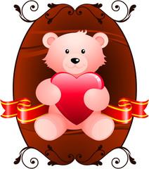 Teddy bear romantic Valentine's Day design background