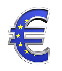 Silver Gold Euro sign with european union flag isolated on white