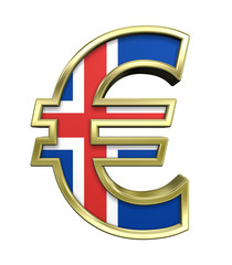 Gold Euro sign with Iceland flag isolated on white.