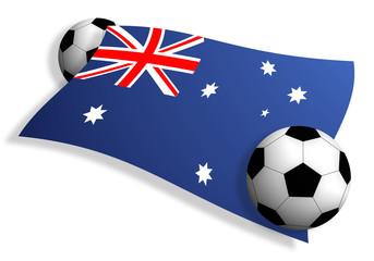 soccer balls & flag of Australia