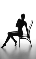 Silhouette of a beautiful young woman